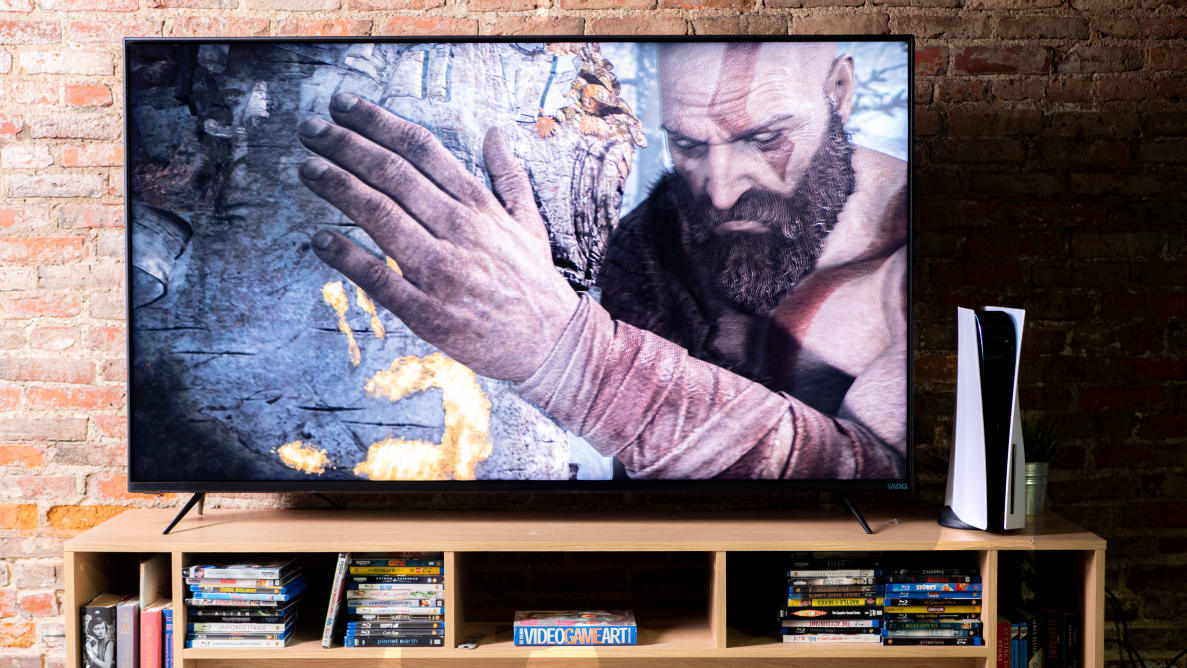A TV hooked up to the Sony PlayStation 5