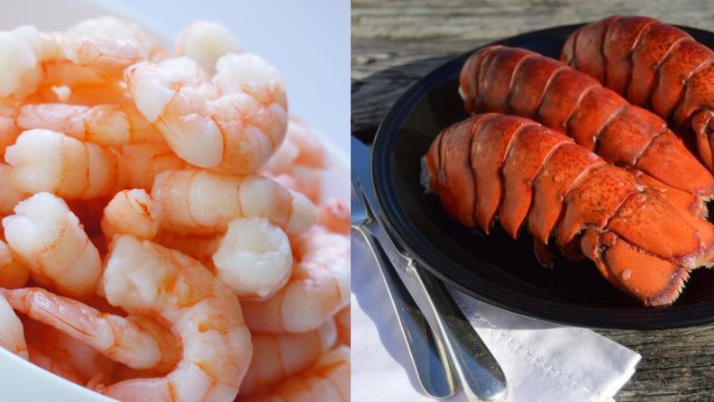 Steamed shrimp and lobster tails