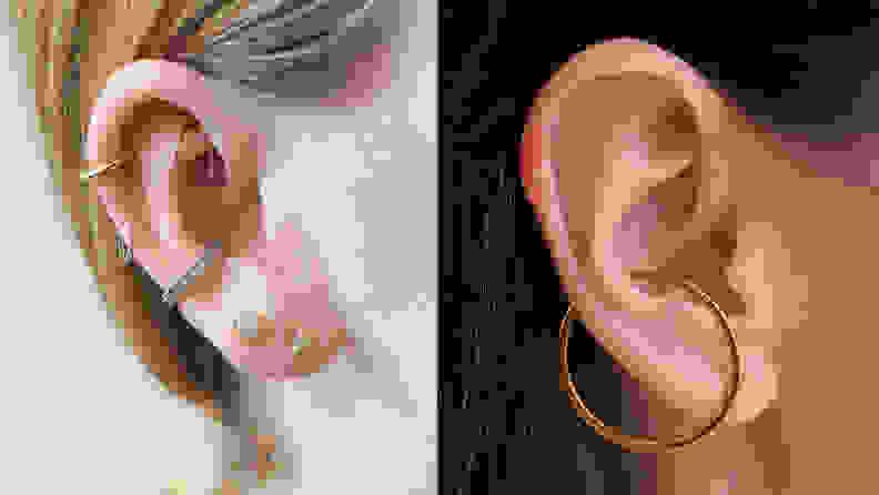 Dainty earrings on women.