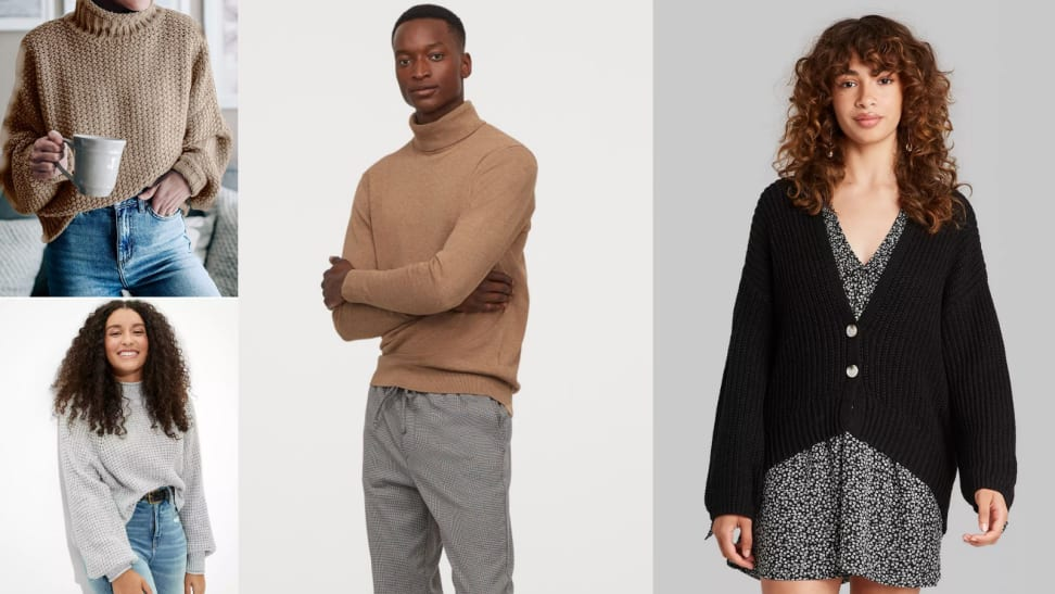 Several images of models wearing turtlenecks, cardigans, and mock neck sweaters.