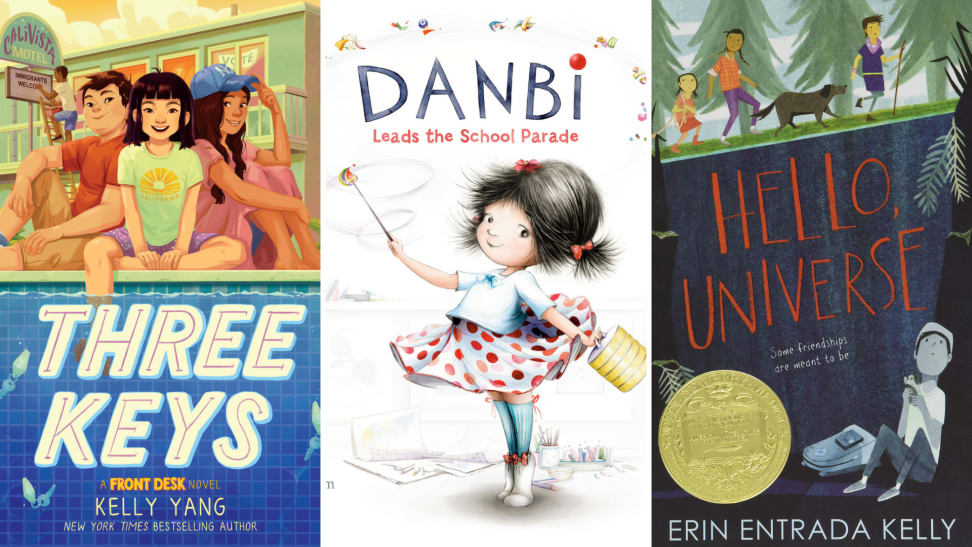 The book cover art for Three Keys, Danbi Leads the School Parade, and Hello, Universe.