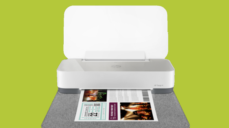 An image of the Tango X printer open to display a printed image.