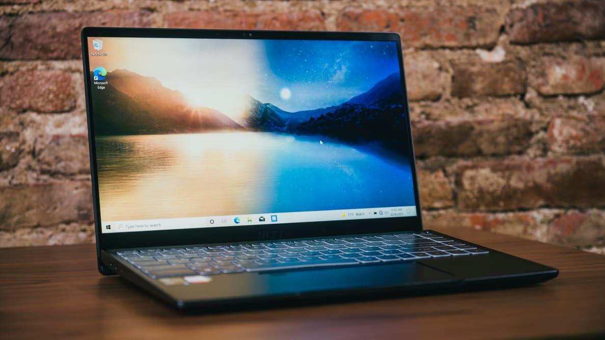 An open laptop on top of a desk