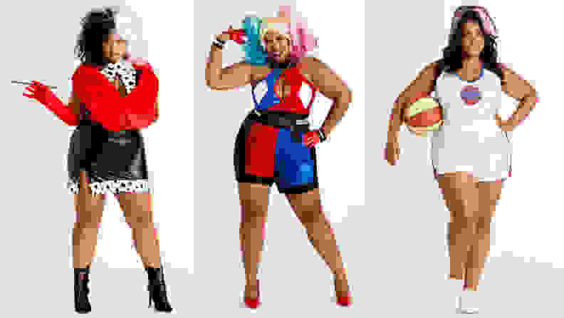 Three women standing next to each other wearing different costumes: cruella de vil, harley quinn, and lola bunny