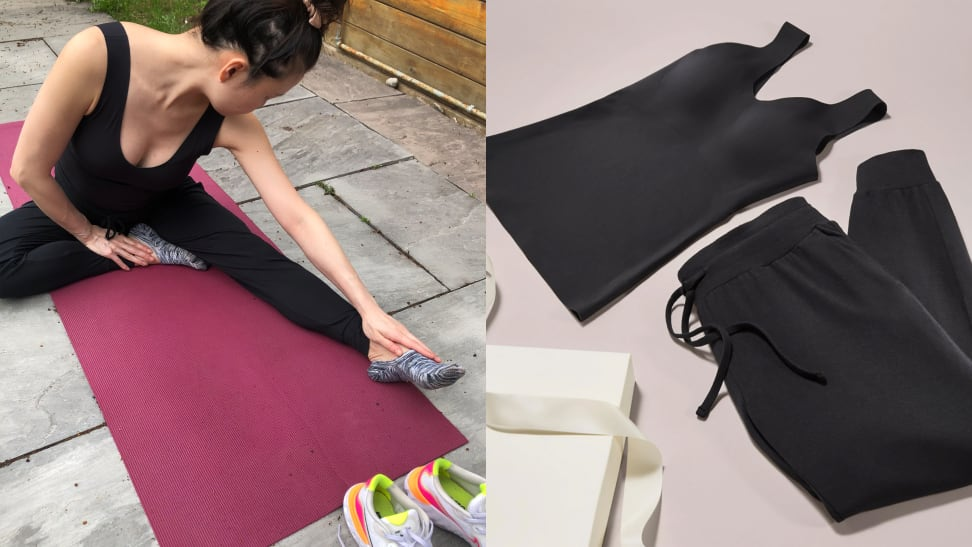 left: woman stretching on yoga mat right: knix luxelift tank and modal lounge pant