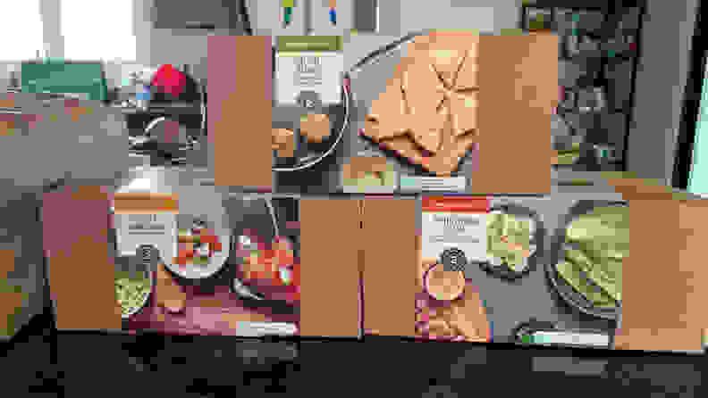 Amazon meal kit boxes on kitchen counter