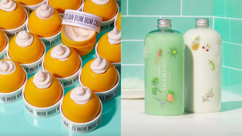On left, lemon shaped container filled with moisturizer on top of blue surface. On right, green and white product bottles in front of green tile background.