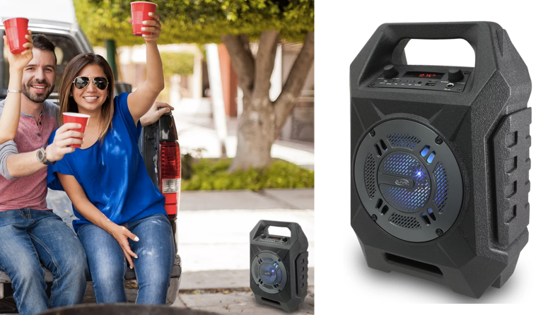 A group of people having drinks and leaning against a truck while listening to music from a large speaker