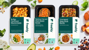 Packaging of three Freshly Purely Plant meals