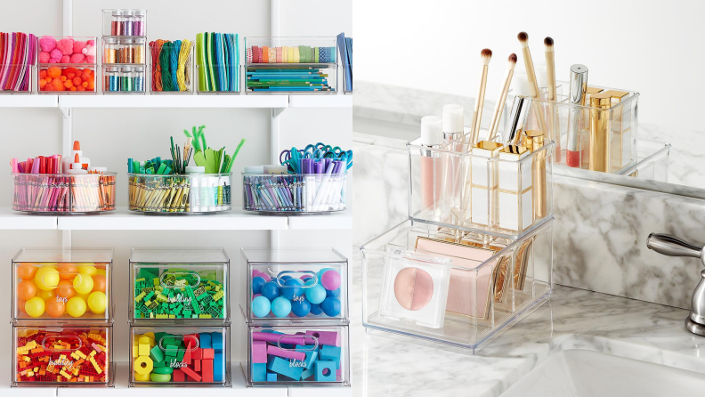 On left, craft items arranged by color in clear containers from the Container Store. On right, clear organizer in bathroom holding cosmetic items.