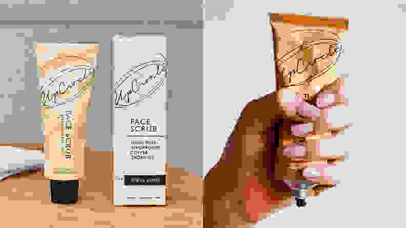 On the left: A tube of UpCircle face scrub on a table. On the right: A hand squeezing a tube of face scrub.