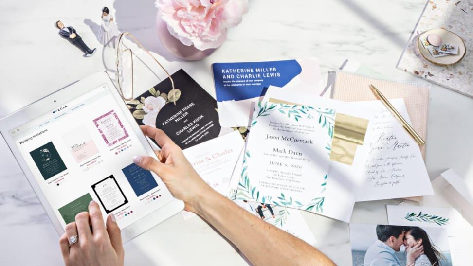 Wedding invites on a table