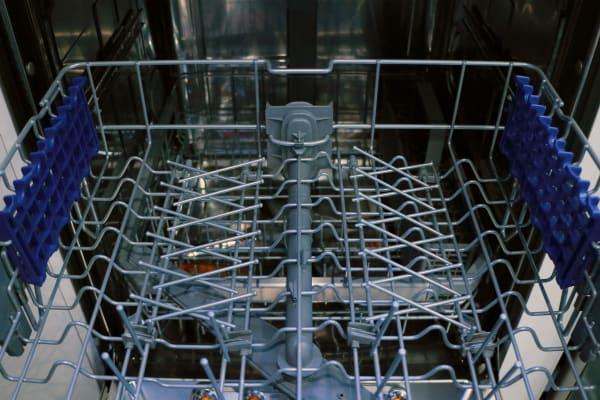 LG EasyRack Plus top rack with tines folded down