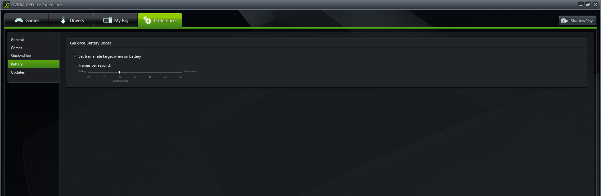Nvidia's Battery Boost feature