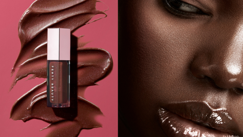 On the left: A tube of Fenty Gloss Bomb Lipgloss in chocolate. On the right: A model wearing the Fenty Beauty gloss bomb