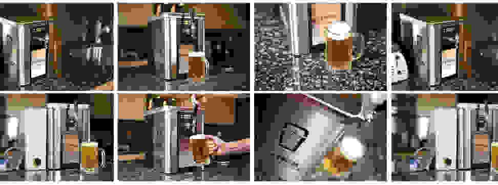 A collage of the Synek craft beer dispenser.