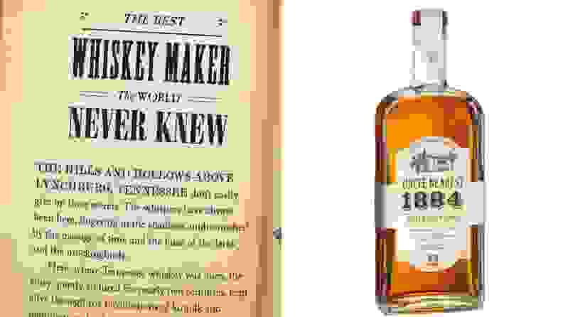 A page from a book talking about whiskey and a bottle of Uncle Nearest whiskey