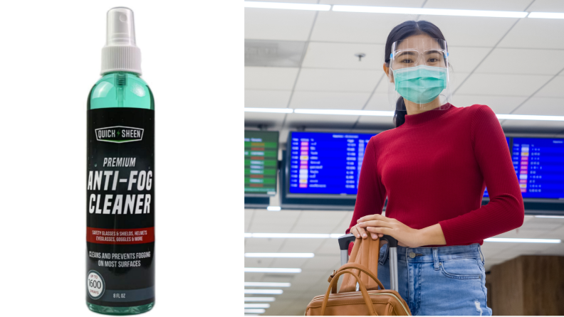 On left, product shot of quick sheen anti-fog spray. On right, woman standing next to suitcase in red long-sleeved shirt, mask and face shield at and airport.