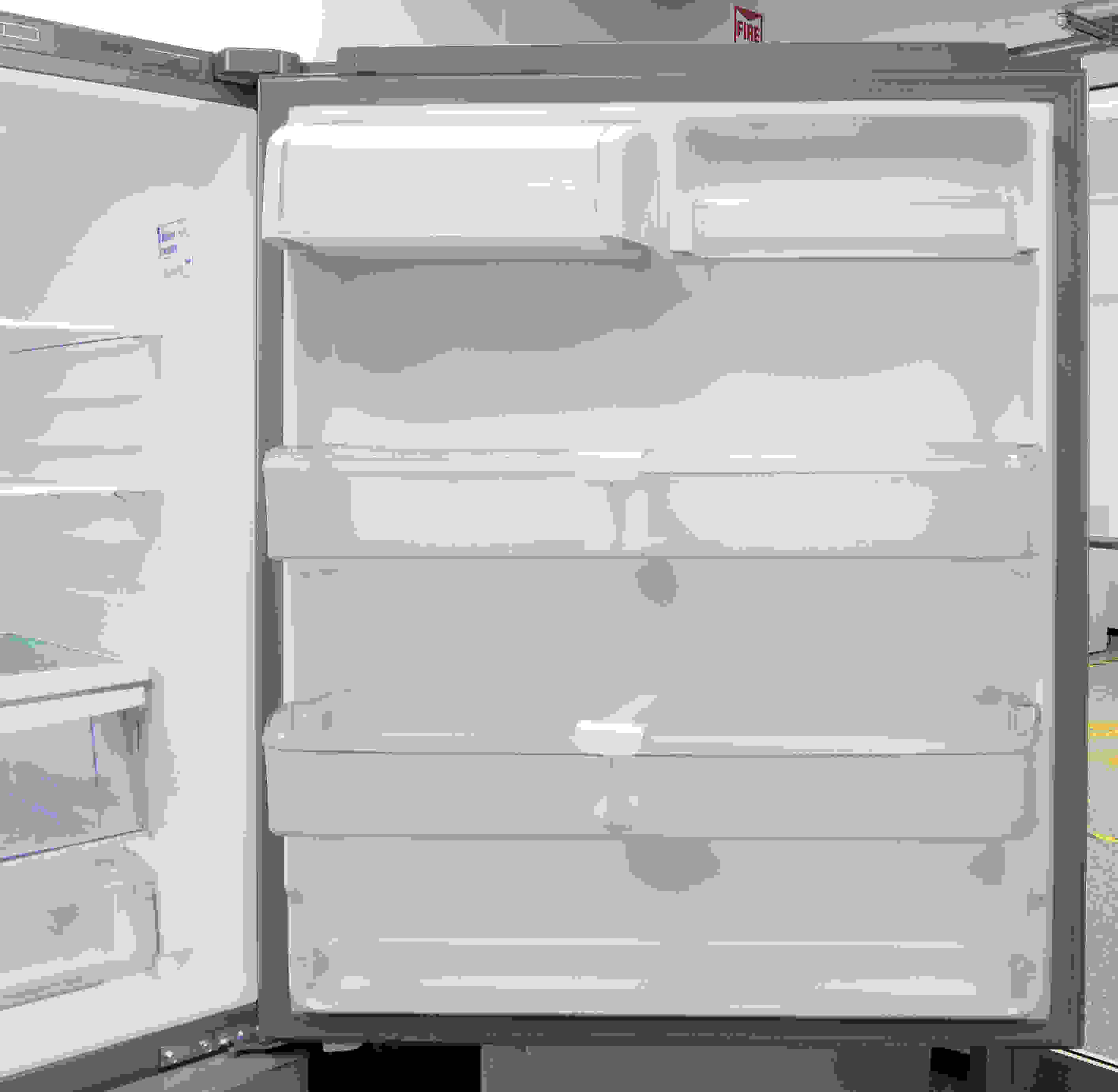 The Kenmore Elite 79043's wide, gallon-deep bucket shelves offer plenty of viable door space. The top-right shelf also flips up to accommodate tall items.