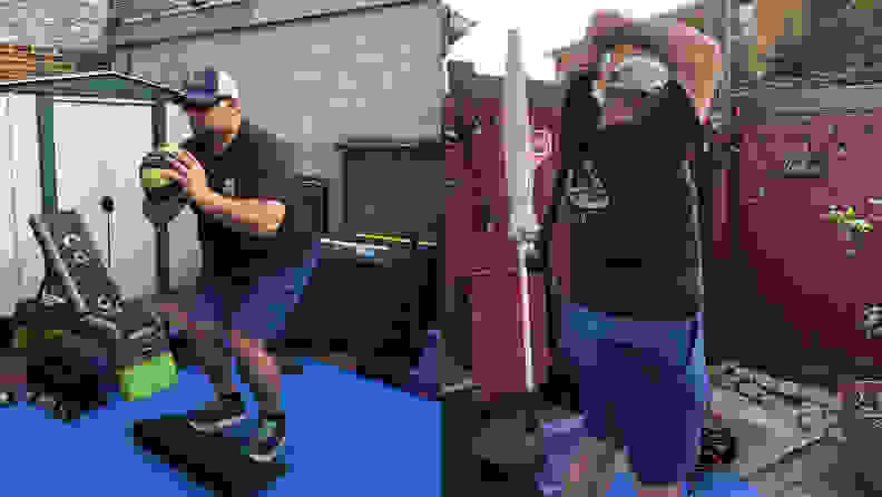 Right: Man doing squats with medicine ball. Left: Man exercising with macebell.