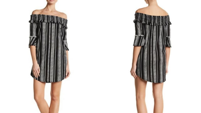 Contemporary Designer Striped Off-the-Shoulder Dress