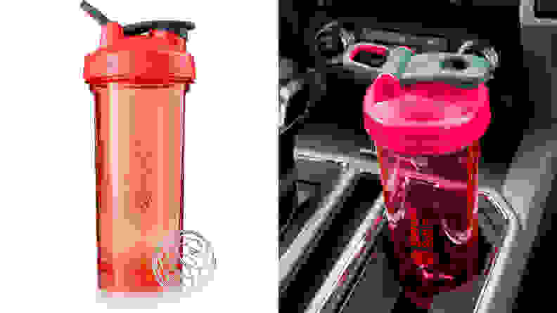 An image of a pink blender bottle in a cup holder.