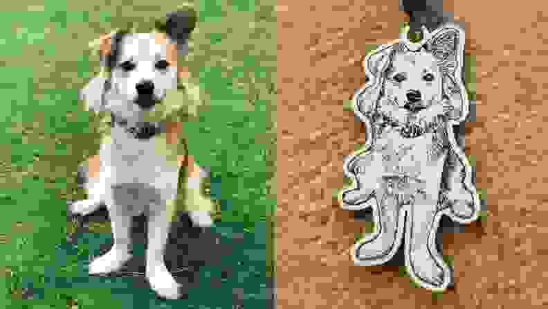 photo and pet necklace side by side