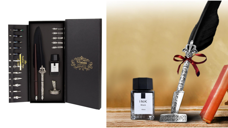 On left, calligraphy set in box. On right, quill pen resting in silver holder next to ink.