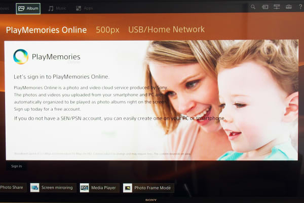 By signing up for an account with Sony, users can curate family photos on the Sony XBR-X850B.