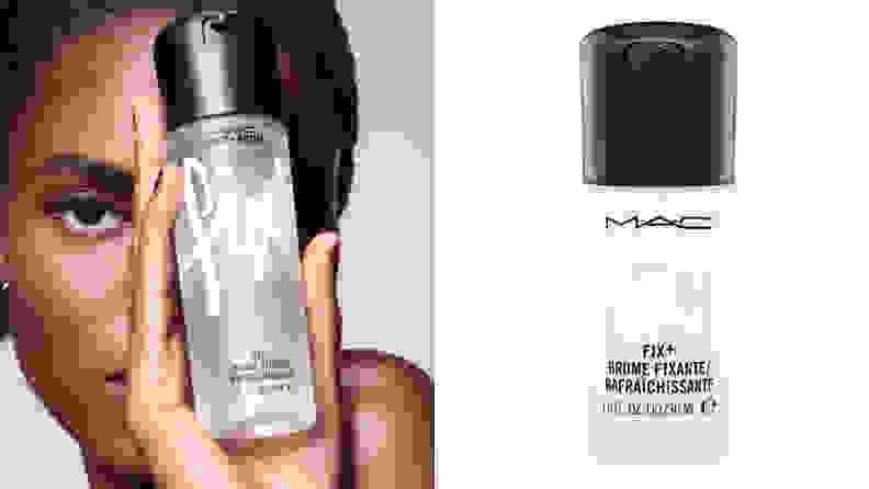 On the left: A model holds the transparent bottle of M.A.C. Cosmetics Fix+ spray. On the right: A mini of the M.A.C. Fix+.