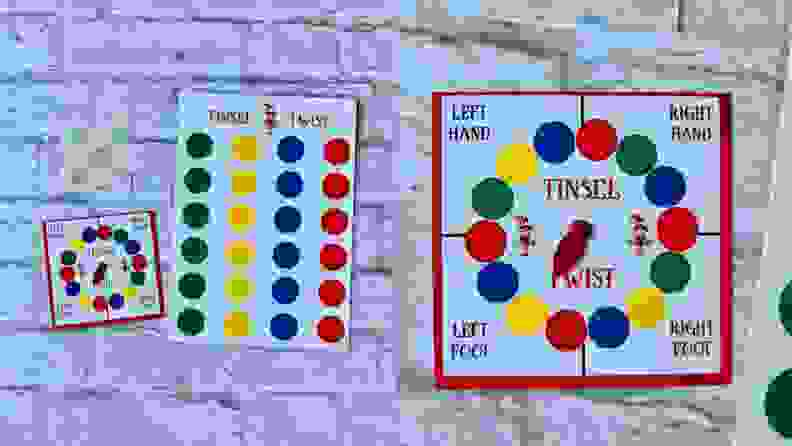 A tiny Twister game set.