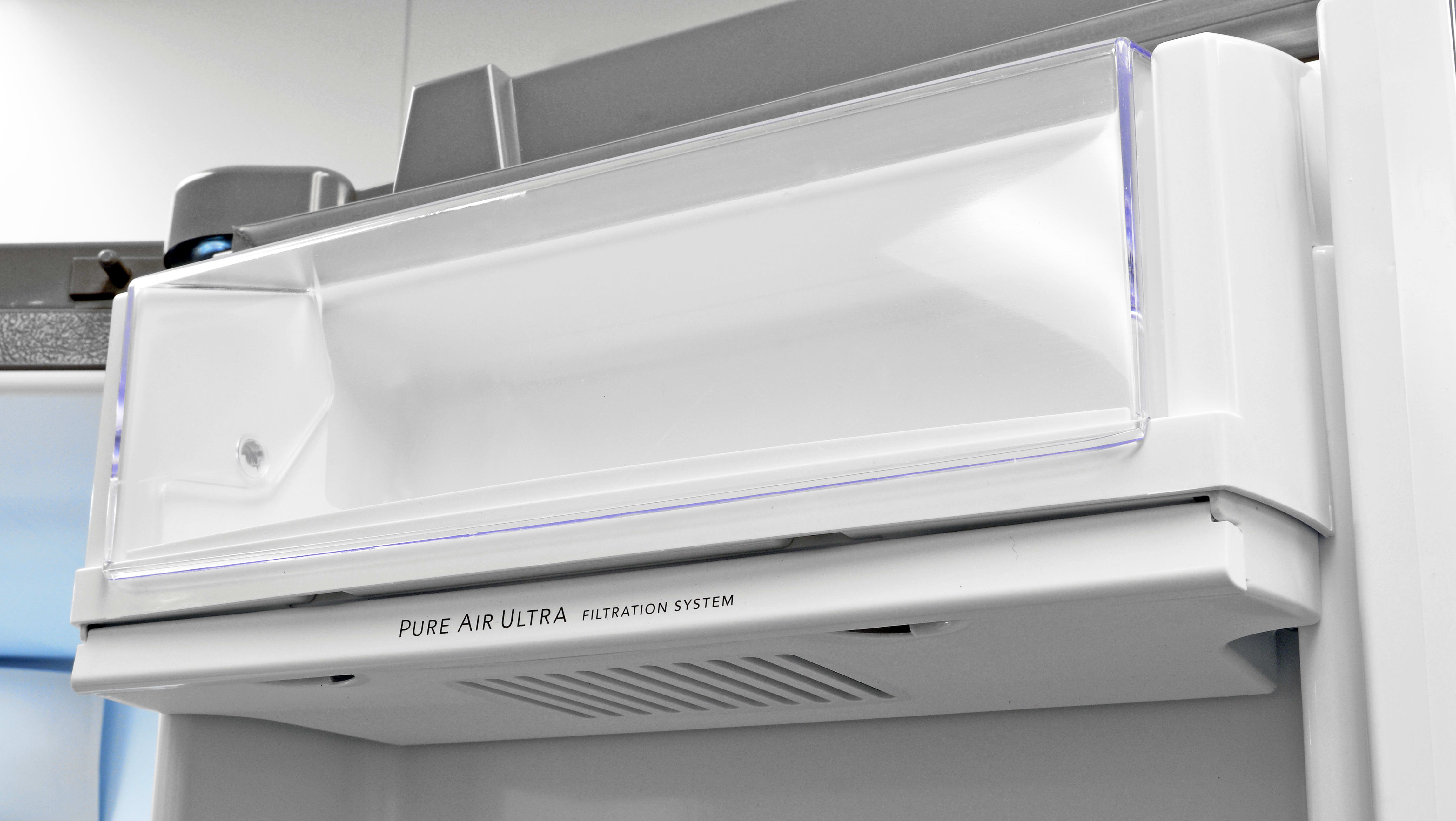 Underneath the crisper is a slot for an air filter meant to help keep the Frigidaire Professional FPBC2277RF smelling fresh.