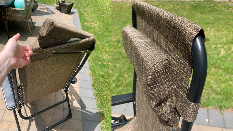 Two side by side close ups of the back and the headrest on the Sonoma Goods For Life antigravity chair.