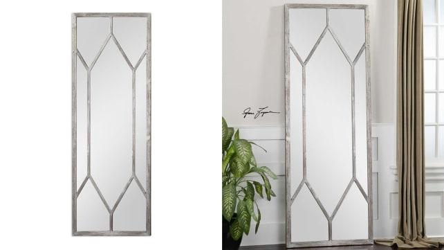 Saunders Distressed Silver Leaf Mirror
