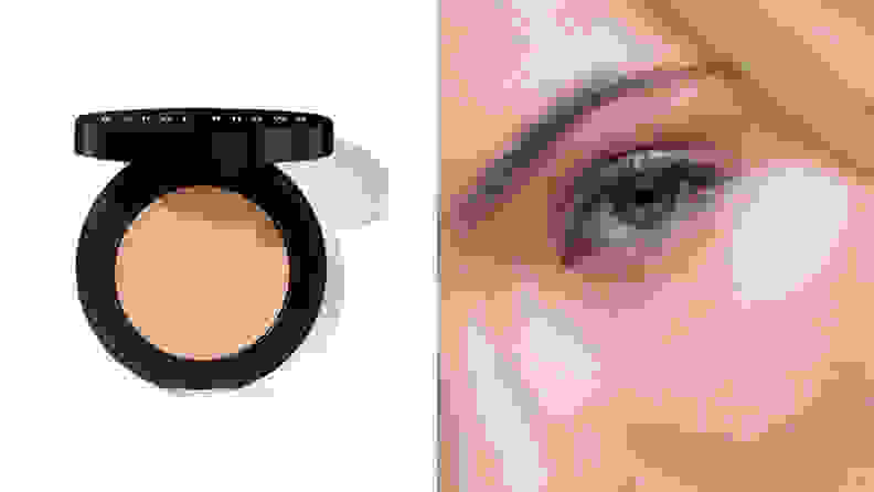 On the left: The Bobbi Brown Under Eye Corrector in a light peach cream shade with its black compact sits on a white background. On the right: A closeup of a person with fair skin's eye after applying the Bobbi Brown Under Eye Corrector.