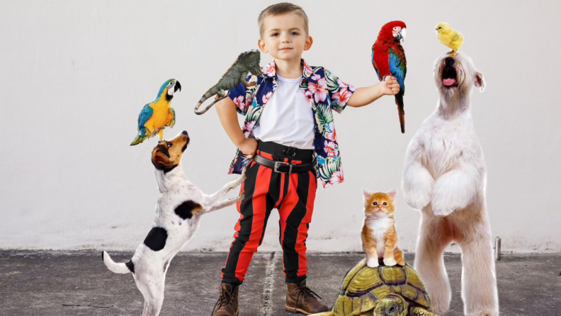 Child dressed up in Ace Ventura costume surrounded by animals.