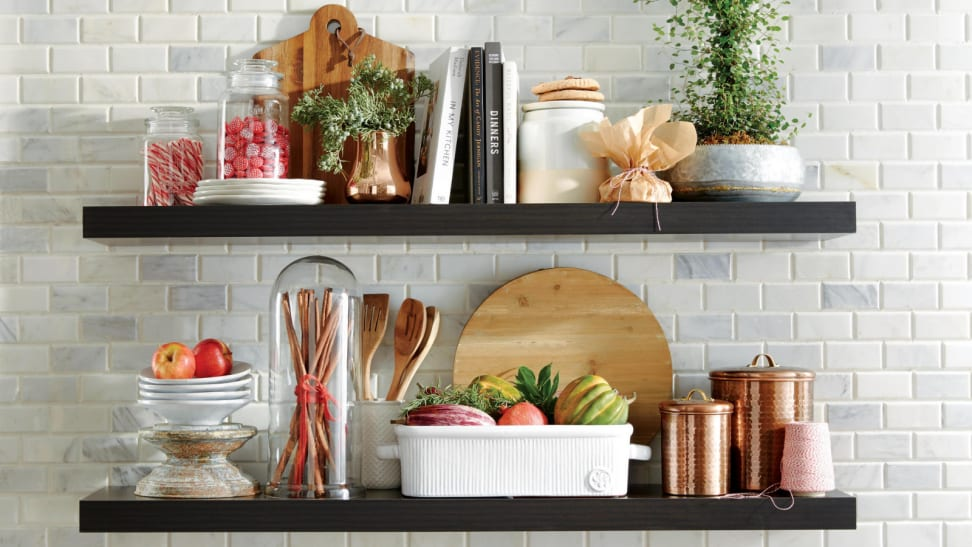 Shelves on a kitchen with decor