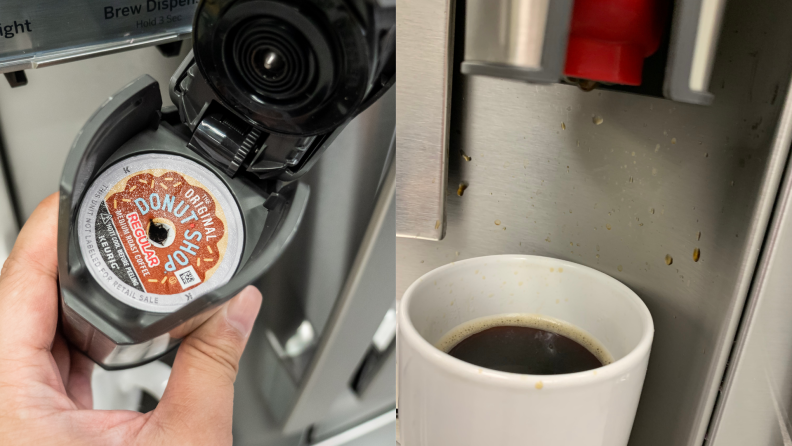 A person inserts a coffee pod into its dispenser and then at left coffee splashes up onto the stainless back of the dispenser