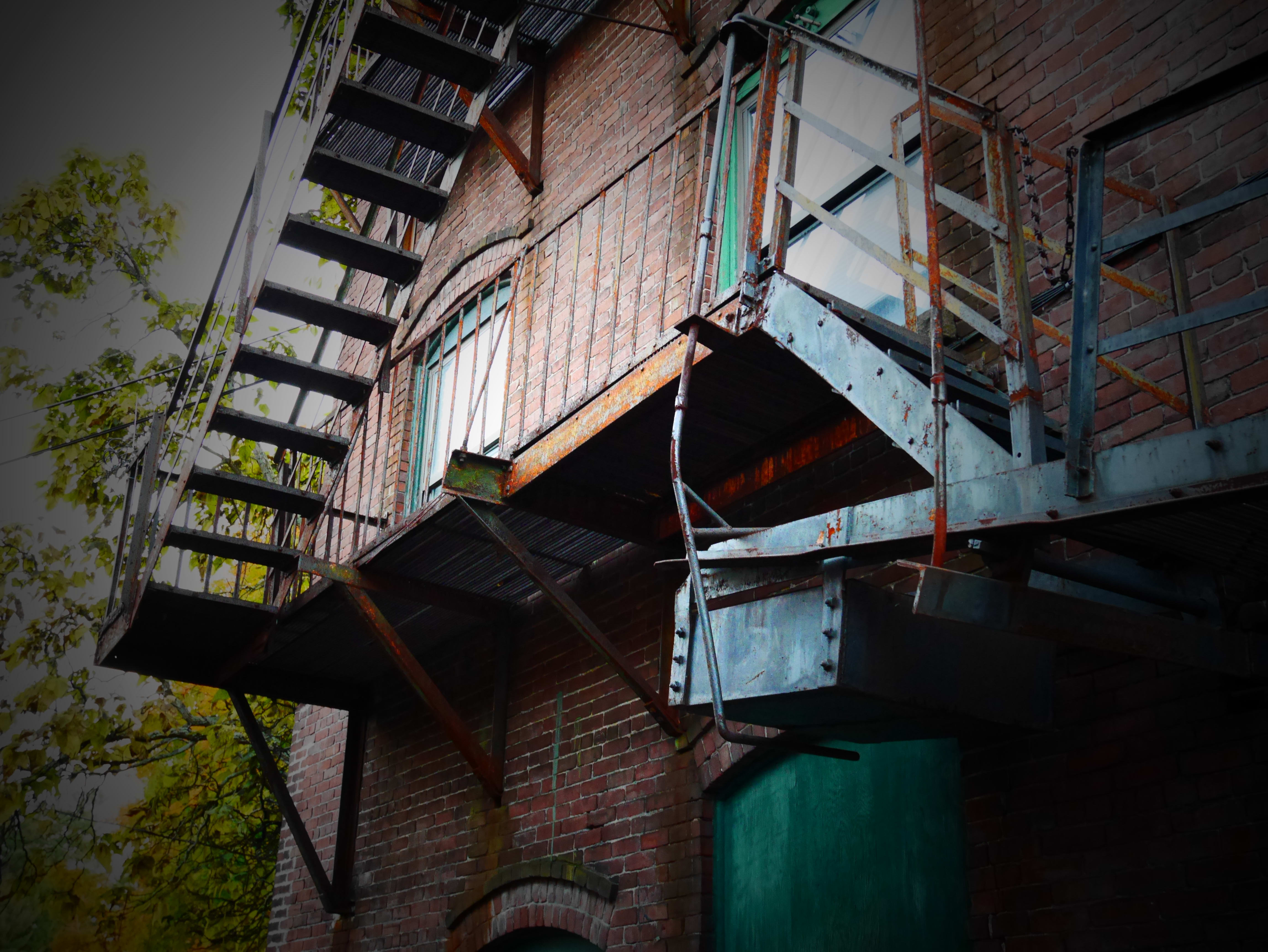 A photo of a fire escape shot by the Panasonic Lumix GM5