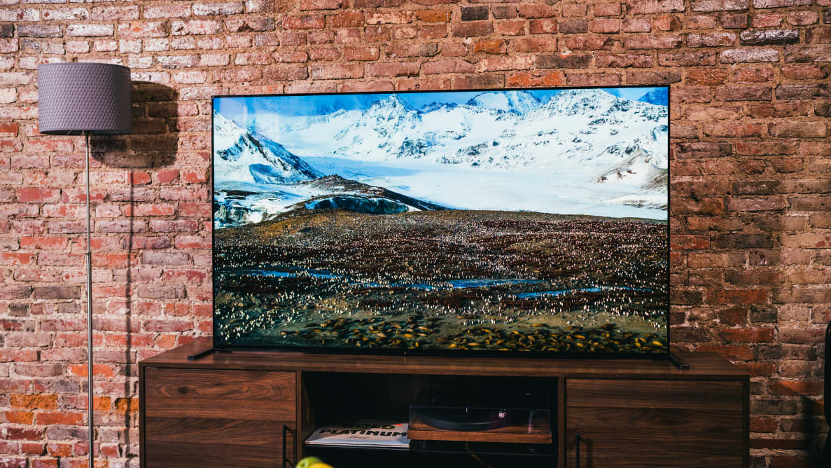 The Sony A90J OLED, one of the best 4K UHD TVs you can buy right now, displaying 4K/HDR content