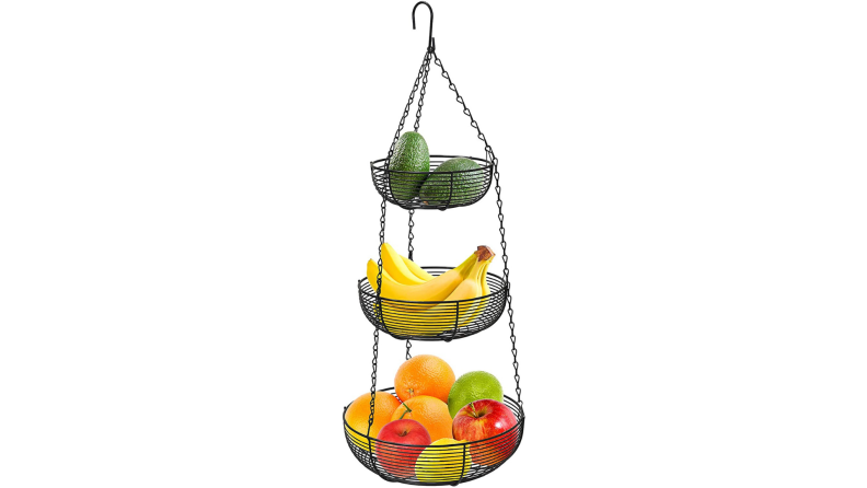 A tiered rack of fruit.