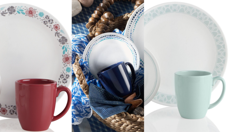 On left, brick colored mug next to multi-colored white plate. In middle, navy blue mug sitting in basket next to blue and white patterned plates. On right, aqua colored mug sitting next to white and aqua plate.