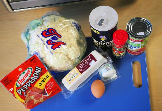 Ingredients for cauliflower pizza