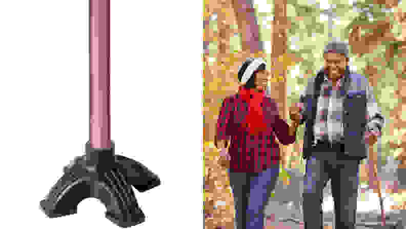 On left, three-legged tip of cane. On right, elderly couple walking together using cane.