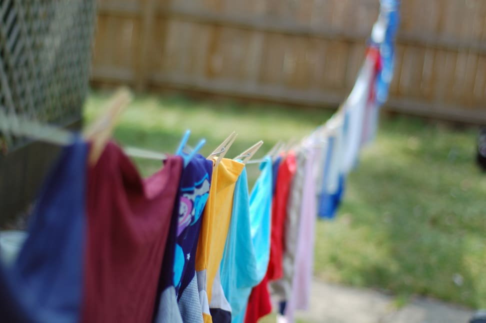 A clothesline full of hanging clothes