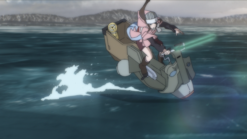 A person riding a sci-fi vehicle across the surface of a body of water.