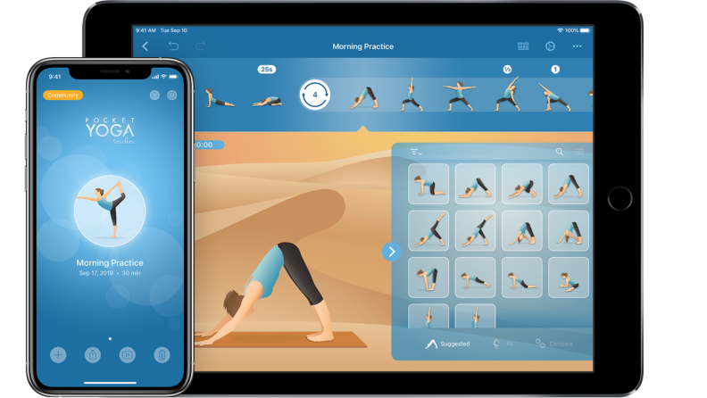 Smartphone next to tablet with yoga app opened on both.