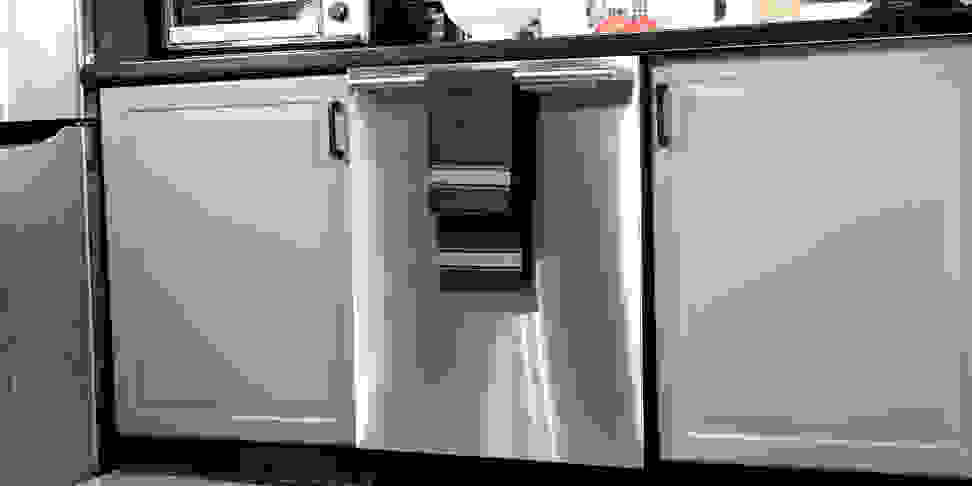 A stainless steel dishwasher