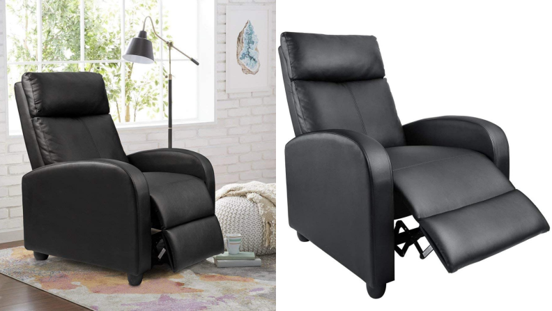 On left, black leather chair sitting in bright living room. On right, black leather chair's foot rest extended outward.