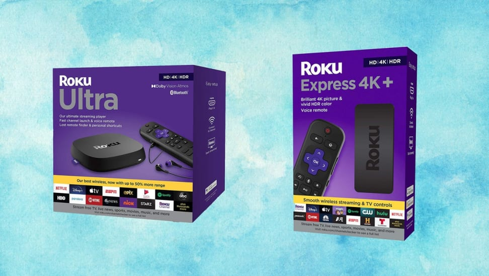 Roku streaming device boxes against a sky blue background